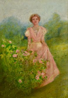 Unknown (19th/20th century) - A floral landscape with lady dressed in pink.