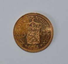 The Netherlands – 5 guilder coin  1912 Wilhelmina – gold