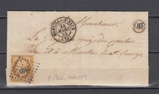 France 1855 – Louis-Napoleon – 10 c bistre – Cancellations: Montiers-S-Saux, rural