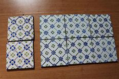 Set of 8 antique ornament tiles in polychrome