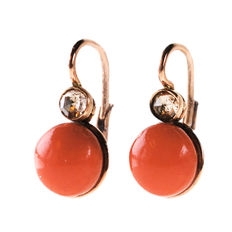 Coral, Diamond, Gold Earrings  Late Victorian (1885-1900)