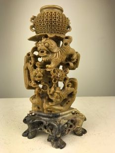 Soapstone shishi carving - China - Republic period (1912-1949)