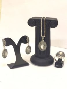 Silver set with moon stone and marcasites in oriental style