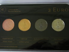 "Germany  -  4 x 2 Euro – 2015 ""Precious Metal"" (4 different coins in set)"