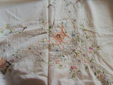 Beautiful old rectangular tablecloth - beige cotton colourfully embroidered by hand