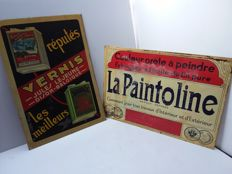Old sheet metal advertising signs from Belgium - from approx. 1949.