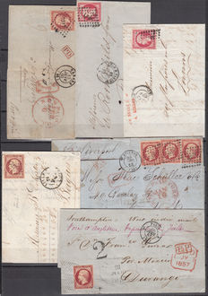 France 1854/1859. Napoleon III.  80 c dark carmine, pink, set with 6 letters with different cancellations, external postage to New York, Durango.