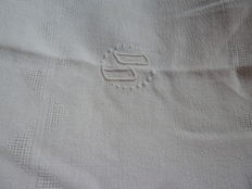 Old rectangular tablecloth - white cotton embroidered by hand and monogrammed DD twice