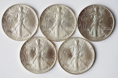 "United States- $1 ""Silver Eagle"" - 1991, 1992, 1993, 1994 and 1995 - 5 pcs - silver"