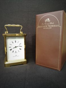 Matthew Norman travel/carriage clock with striking mechanism on gong – 1980