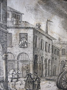 12 prints by Giuseppe Cantarelli - 18-century Bologna streetscenes, interiors or costumesFrom the Poem Ch'N'Ha Cervell Ava Gamb by Lotti Lotto