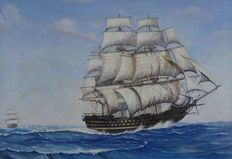 Dion Pears. (1929-1985) - A 19th century navy vessel on the high seas.