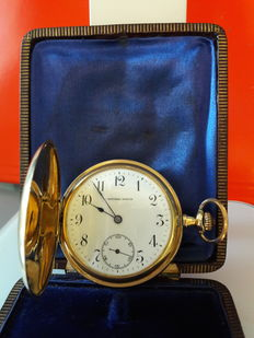 Men's pocket watch – double case in 18 kt yellow gold – Cantonal Watch – Switzerland – Period: 1900–1920 – complete with its original box