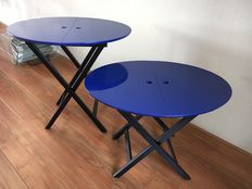 "Romeo Sozzi for Promemoria Italy – set of designer folding tables ""Battista"""