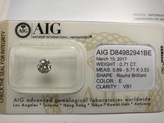 0.71 ct Round cut diamond E VS1