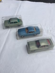 CKO-Kellermann, Western Germany - M. 1/36 - Tin Rollo series 437 Fiat 128, 438 Ford Capri and 440 Mercedes 350 with friction drive, 70s