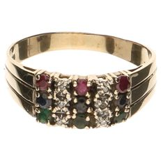Yellow gold ring set with 3 sapphires, emeralds, rubies and 6 brilliant cut diamonds of 0.005 ct each