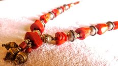 Huge Berber Silver and Natural Red Coral Beads Necklace, 98gr