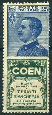 Stamp with advertisement - 1924/1925 - Kingdom of Italy. 25 cents, blue and green, Coen advertisement.