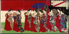 Tryptich woodcut by Tsuokia Yoshitoshi - emperor with ladies-in-waiting - Japan - 1876