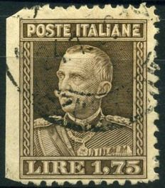 1927 - Vittorio Emanuele III - 1.75 Lire, brown - Without perforation on the left - #214g