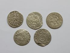 Poland and Lituania  - Lot assorted coins 15th -17th century (5 different) - silver