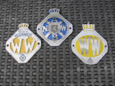 Three different ANWB - Wegenwacht shields - 1960s
