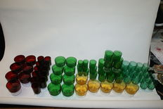 68 pieces of Luminarc Cavalier port shot glasses and dessert glasses in different colours.