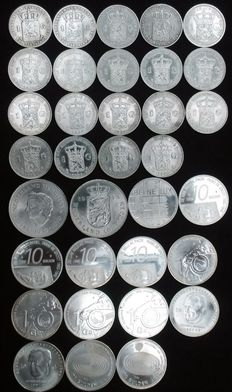 The Netherlands – 1 guilder 1846/1940 + 10 guilder 1970/1999 (34 pieces in total) – silver