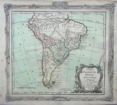 South America; M. Brion - CHILI, PARAGUAY, BRESIL, AMAZONES et PEROU. - 1766