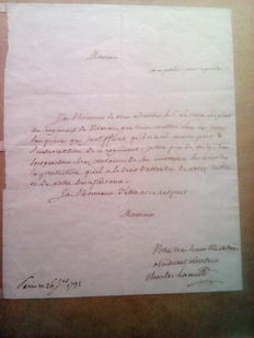 Manuscripts; Letter signed by Charles Lameth - 1791