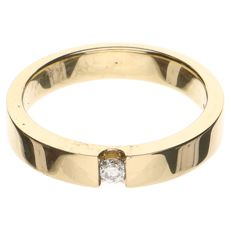 14 kt yellow gold ring with a brilliant cut diamond of 0.09 ct - ring size 19