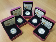 Canada - 5 Dollars 2016 – birthstones for March, April, May, June and October – Swarovski crystal – 5 x silver coins