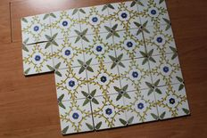 Set of 10 antique ornament tiles in polychrome