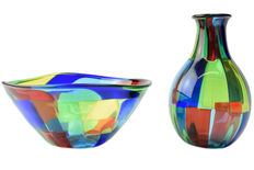Angelo Ballarin ( F&M Ballarin ) - Set of vase and mottled bowl
