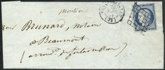 France 1851 - Dark blue Ceres on letter, Fontainebleau and Beaumont du Gatinais in cursive characters - Yvert no. 4a