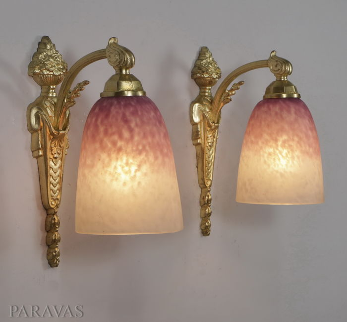 Charles Ranc & Schneider - Art Deco wall sconces - bronze and coloured glass