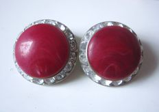 Coro Vintage  ear clips by Lucite Gems   1950s to 70s, USA!