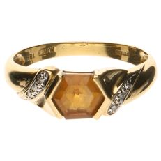 14 kt yellow gold ring set with a citrine and six brilliant cut diamonds of approx. 0.06 in total - ring size 17
