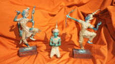 Three Asian dancers in bronze - Thailand - second half of 20th century