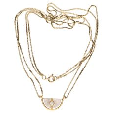 14 kt yellow gold double Venetian link necklace with a pendant set with a diamond of approx. 0.10 ct - Length: 52.5 cm
