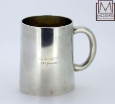 Solid Silver Tanker Cup With Glass Bass and Initials, London 1927, Daniel & Charles Houle