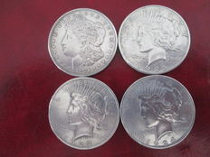 United States – 1 Dollar 1921D, 1922, 1923, 1924 (4 coins) – silver