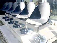 Roberto Foschia for Midj – 6 bucket chairs with chromed base