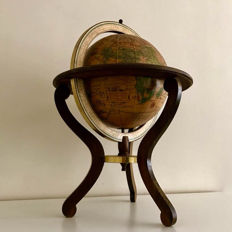Special Italian wooden table globe from 1963.