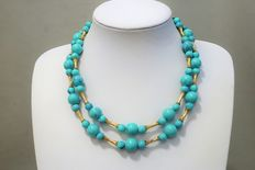 Signed CORO -  Gold Tone Turquoise Color Marbled lucite beads, Double Strand Beaded Choker Necklace