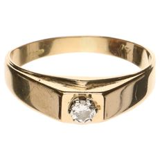 Yellow gold solitaire ring in 18 kt, set with diamond - Ring size 20