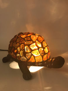 Natural Baltic Amber lamp turtle shape, Tiffany style, No Reserve, 308 gr.