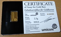 1 gold bullion, Umicore, 2.5 grams, certificate