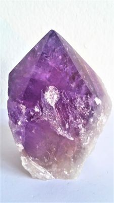 Beautiful dark and large Ametrine (Citrine + Amethyst) crystal point - 90 x 70 x 60 mm - 428 grams - 2,140 carats